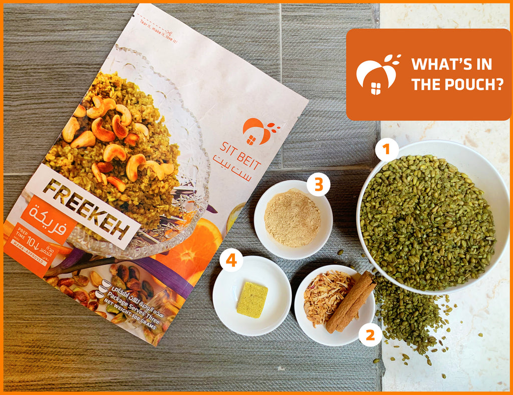 freekeh, spices, sit beit, pouch, dried food
