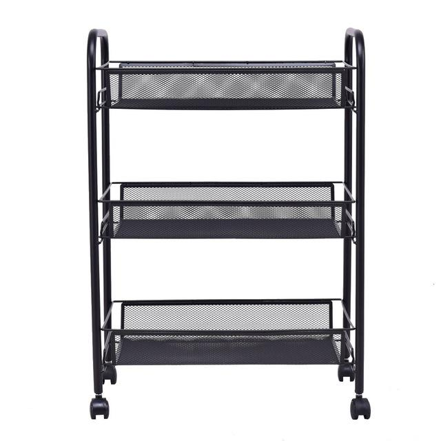 3 Tier Mesh Rolling File Utility Cart Home