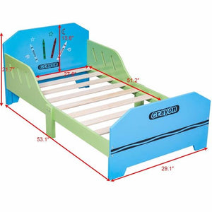 Giantex Crayon Themed Wood Kids Bed with Bed Rails