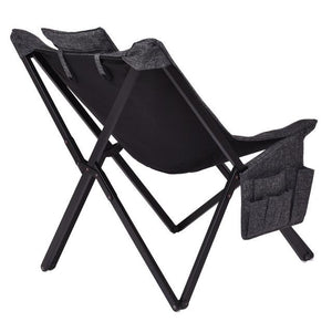 Folding Butterfly Chair Seat Solid Black