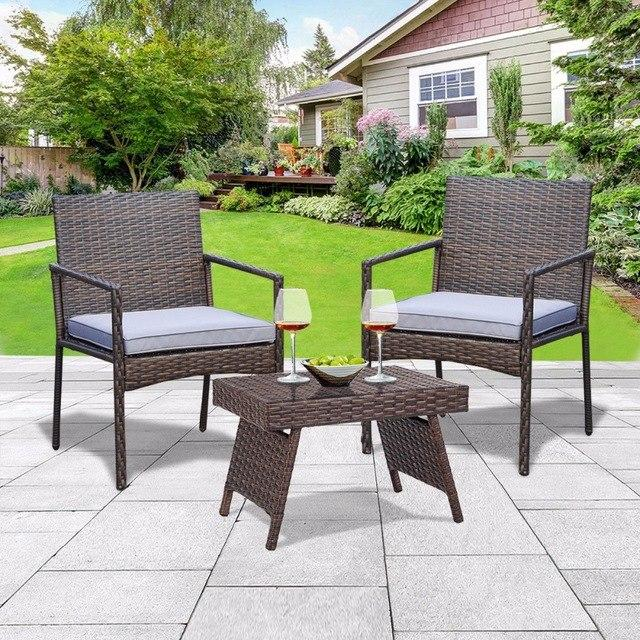 Folding PE Rattan Side Coffee Table Patio