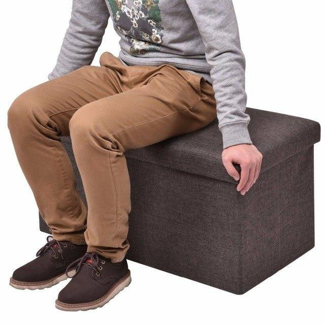 Folding Rect Ottoman Bench Storage Stool