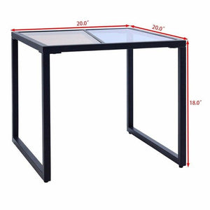Square Side End Table Tempered Glass Top