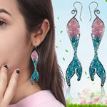 Blue Ocean Jewelry -  Bohemian Vintage Opals Mermaid Tassel Earrings