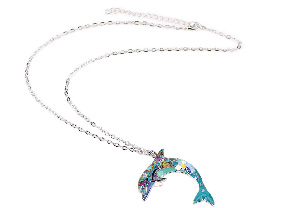 Blue Ocean Jewelry - Artistic Dolphin Necklace with Several Colors to Choose From