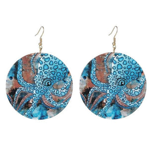 Blue Ocean Jewelry -  Round Wooden Printed Octopus Dangle Earrings