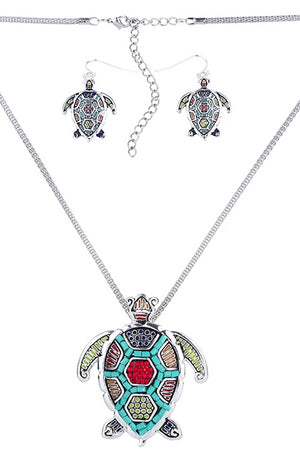 Blue Ocean Jewelry - Multicolor Sea Turtle Necklace Set