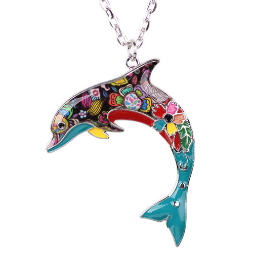 Blue Ocean Jewelry - Artistic Dolphin Necklace with Several Colors to Choose From.