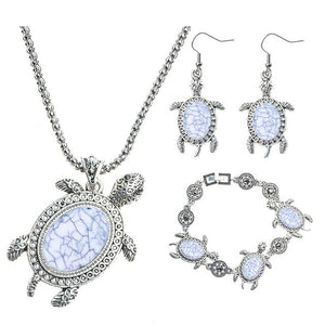 Blue Ocean Jewelry - Sea Turtle Pendant Necklace with Bracelet and Earrings