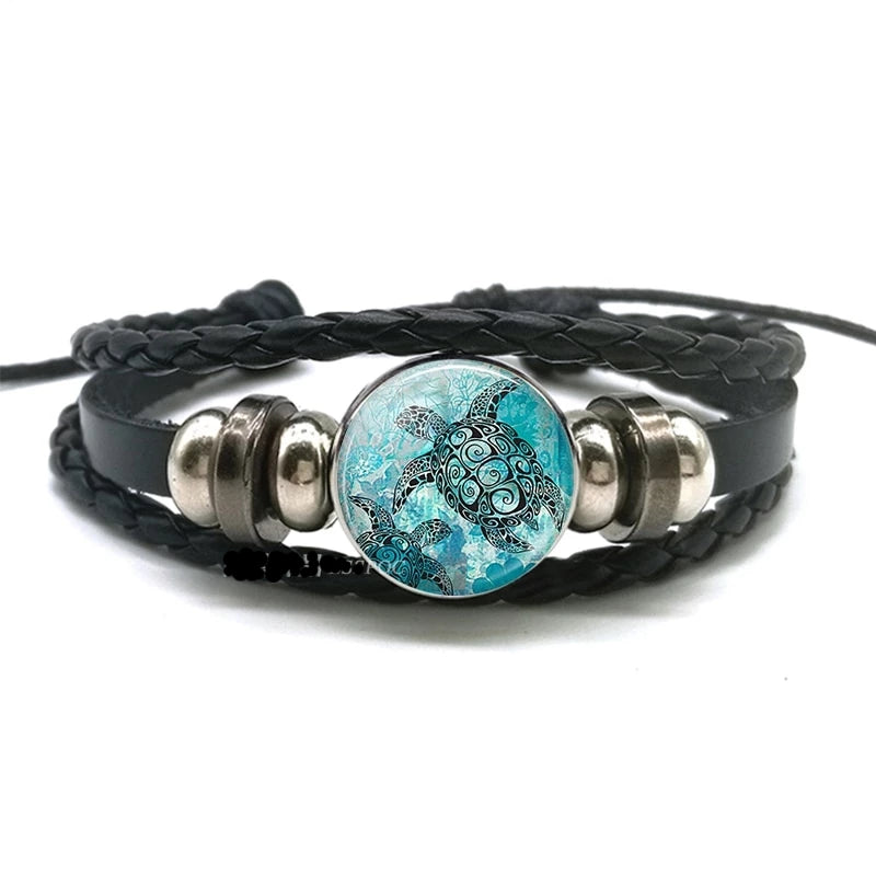 Blue Ocean Jewelry - Leather and Metal Wrap Bracelet