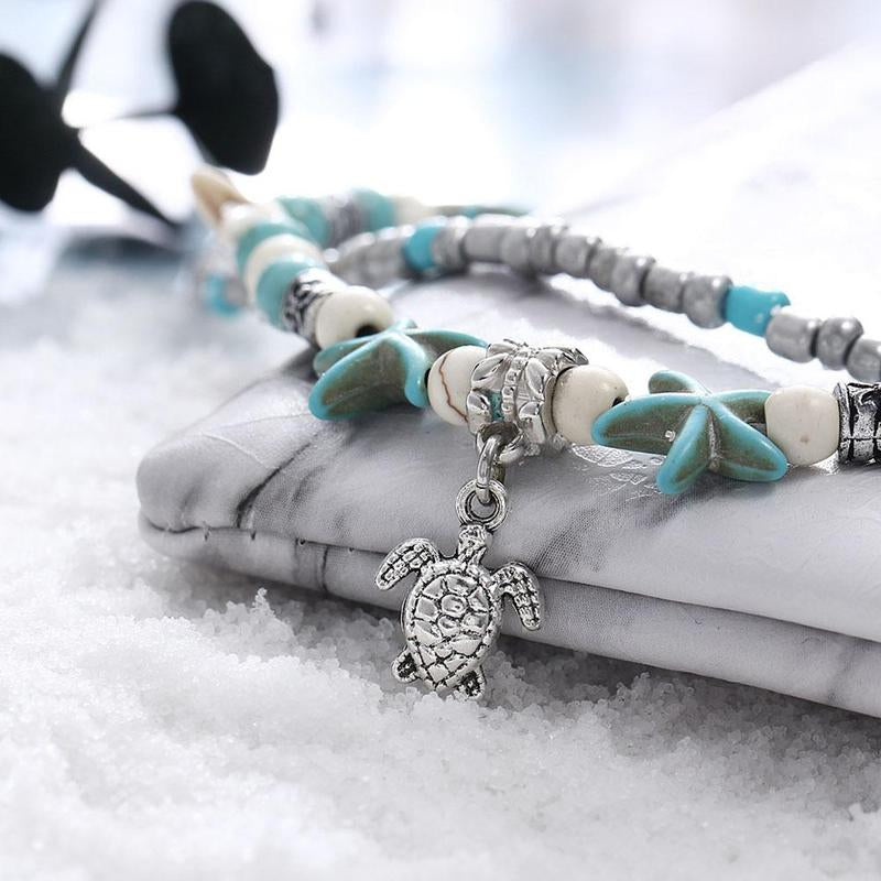 Blue Ocean Jewelry - Sea Turtle and Starfish Beaded Bracelet