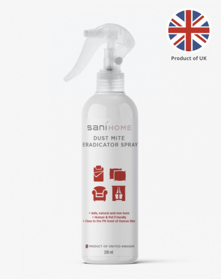 SaniHome Dust Mite Eradicator Spray (250ml) | Kill Dust Mites in 30sec | From UK | Suitable for G6PD