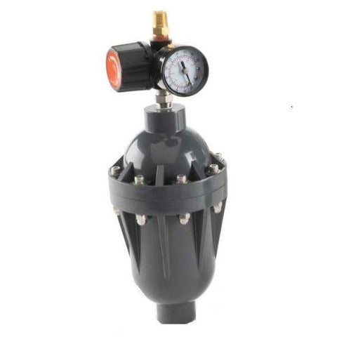 "Griffco Pulsation Dampener -  7.5/10cu-in Chargeable Chamber -  1/2"" FNPT Connections -  PVC Wetted & Non-Wetted Materials -  PTFE Bladder - Part #: PD0012PT11"