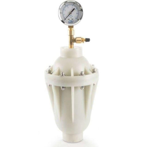 "Griffco Pulsation Dampener -  7.5/10cu-in Chargeable Chamber -  1/2"" FNPT Connections -  PVDF Wetted & Non-Wetted Materials -  Viton Bladder - Part #: PD0012KV11"