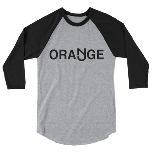 Orange 3/4 Sleeve Raglan Shirt Black Logo