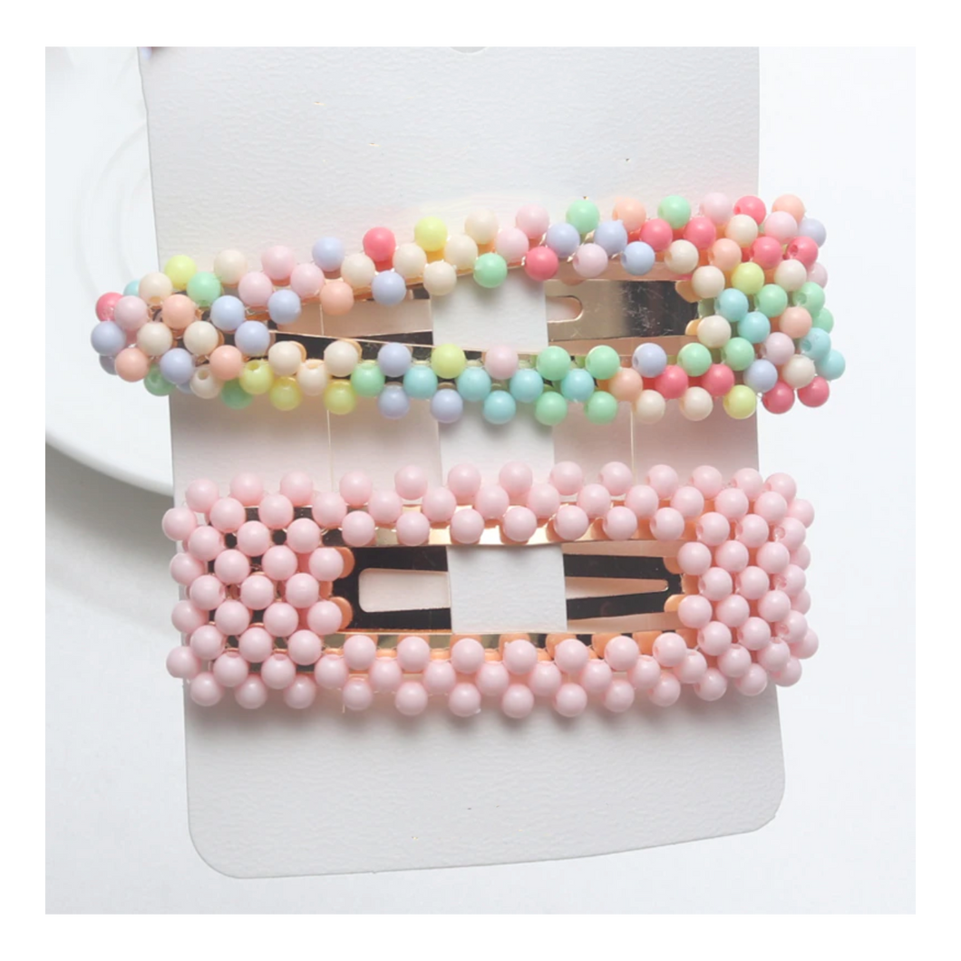 Large Beaded Snap Clip Set (Pink & Multi)