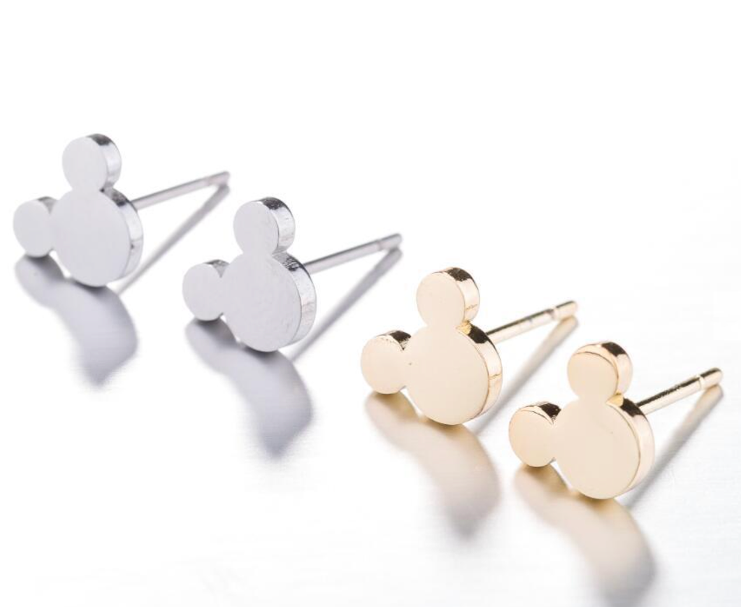 Stainless Steel Mouse Ears Earrings (4 colors)