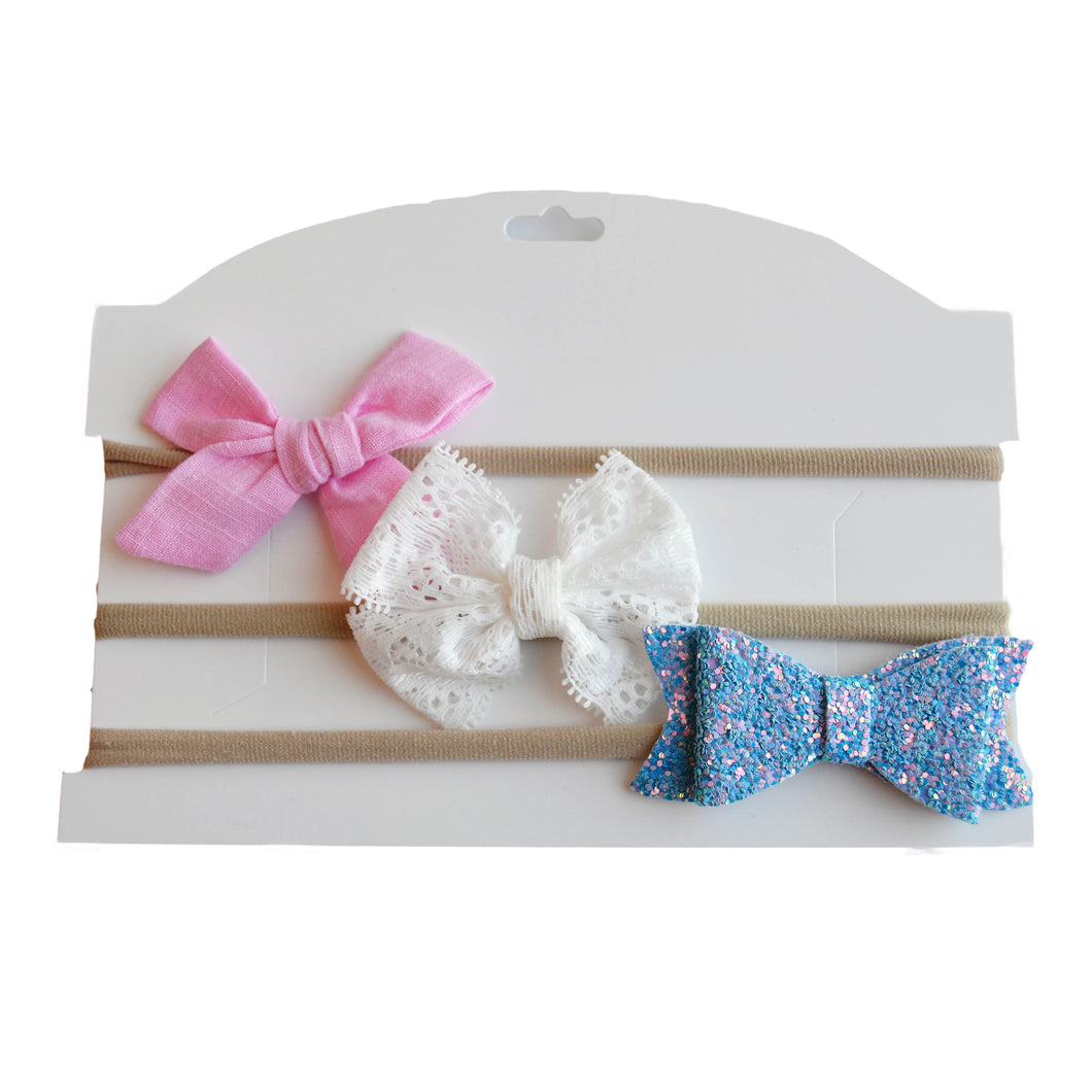 Linen, Lace & Sparkle Headband Set