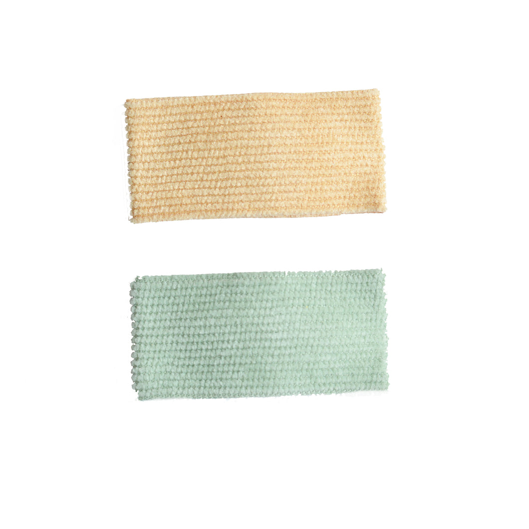 2 Pack Corduroy Snap Clips (Tan & Green)