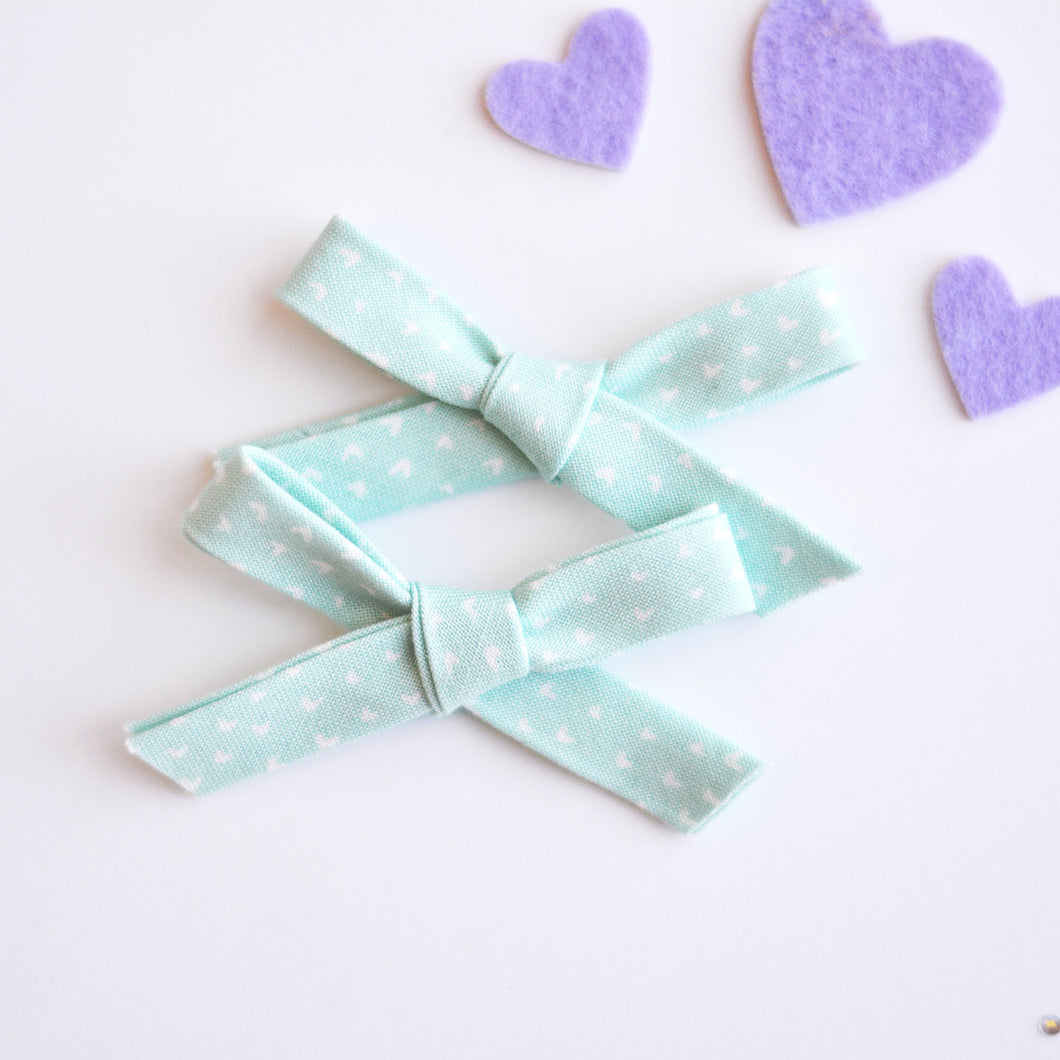 Teal Heart Pigtail Set