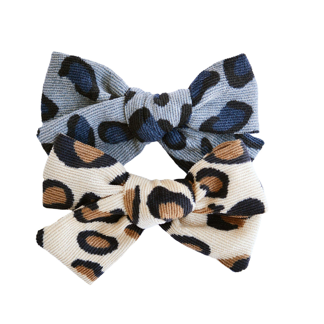 Cheetah Corduroy Bow