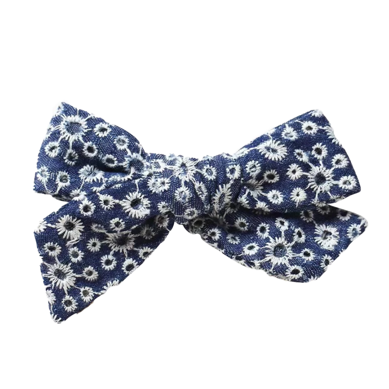 Dark Denim Eyelet Bow