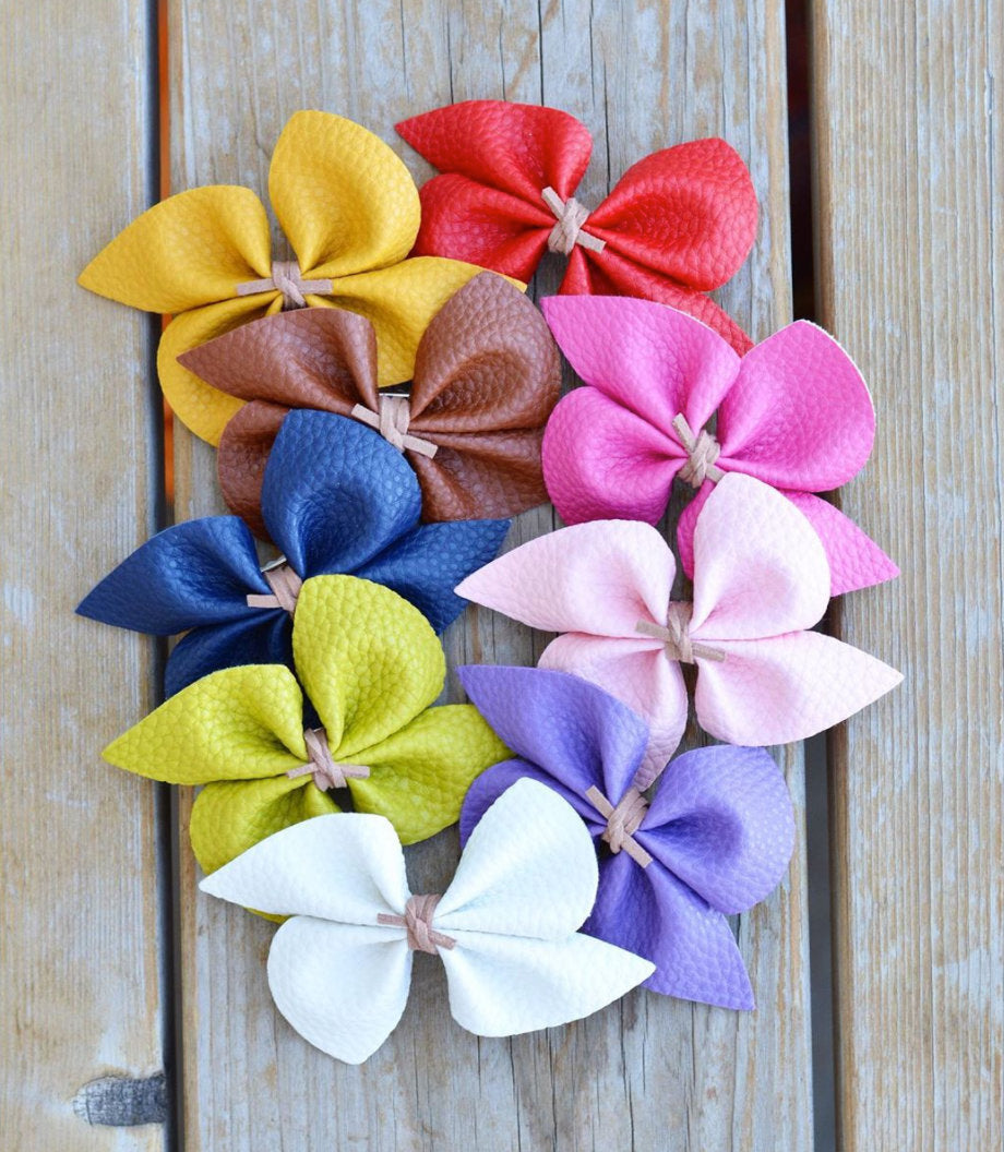 Faux Leather Pinwheel Bow