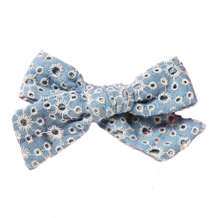 Light Denim Eyelet Bow