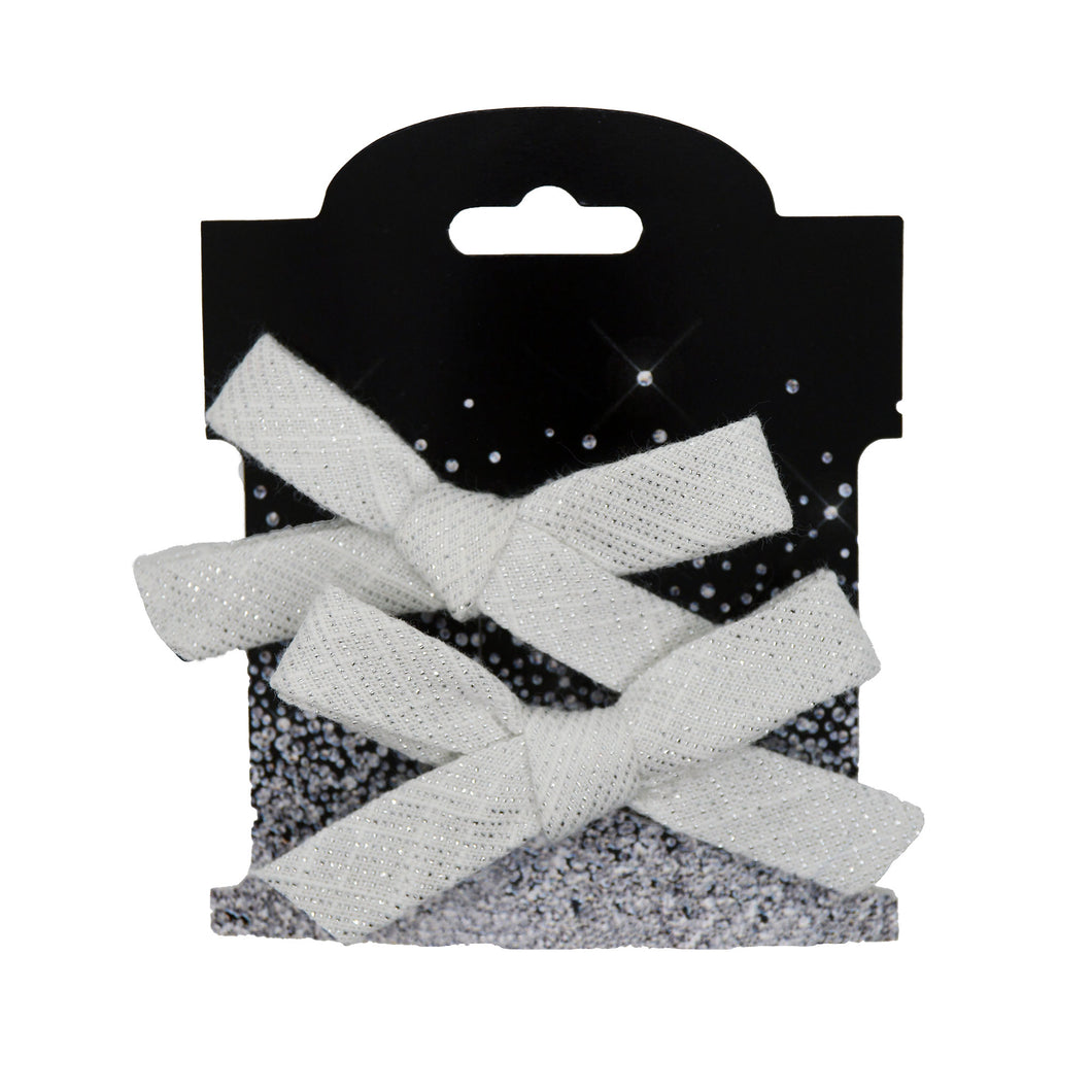 White and Silver Sparkle Pigtail Set