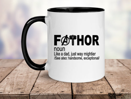 FaThor Mug || Black Handle || Father's Day