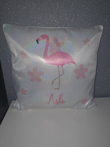Personalised Glitter Effect Cushion || Holographic || Flamingo Design