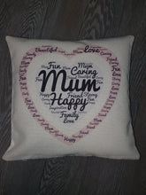 Load image into Gallery viewer, Word Collage || Personalised Luxury Soft Linen Cushion || Mother's Day Gift