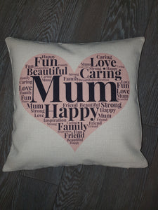 Word Collage || Personalised Luxury Soft Linen Cushion || Mother's Day Gift