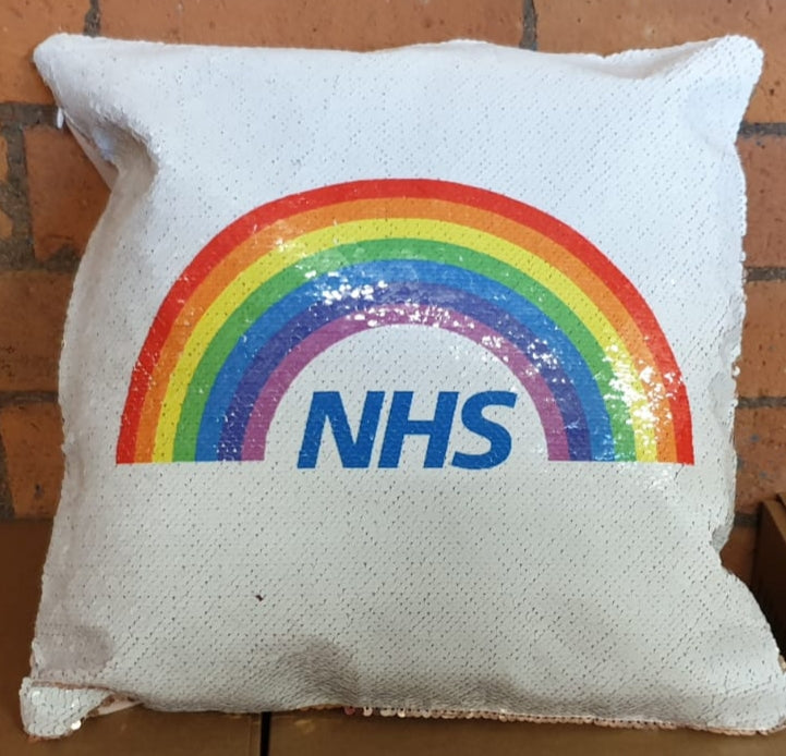 RAINBOW Sequin Cushion - Can Be Personalised