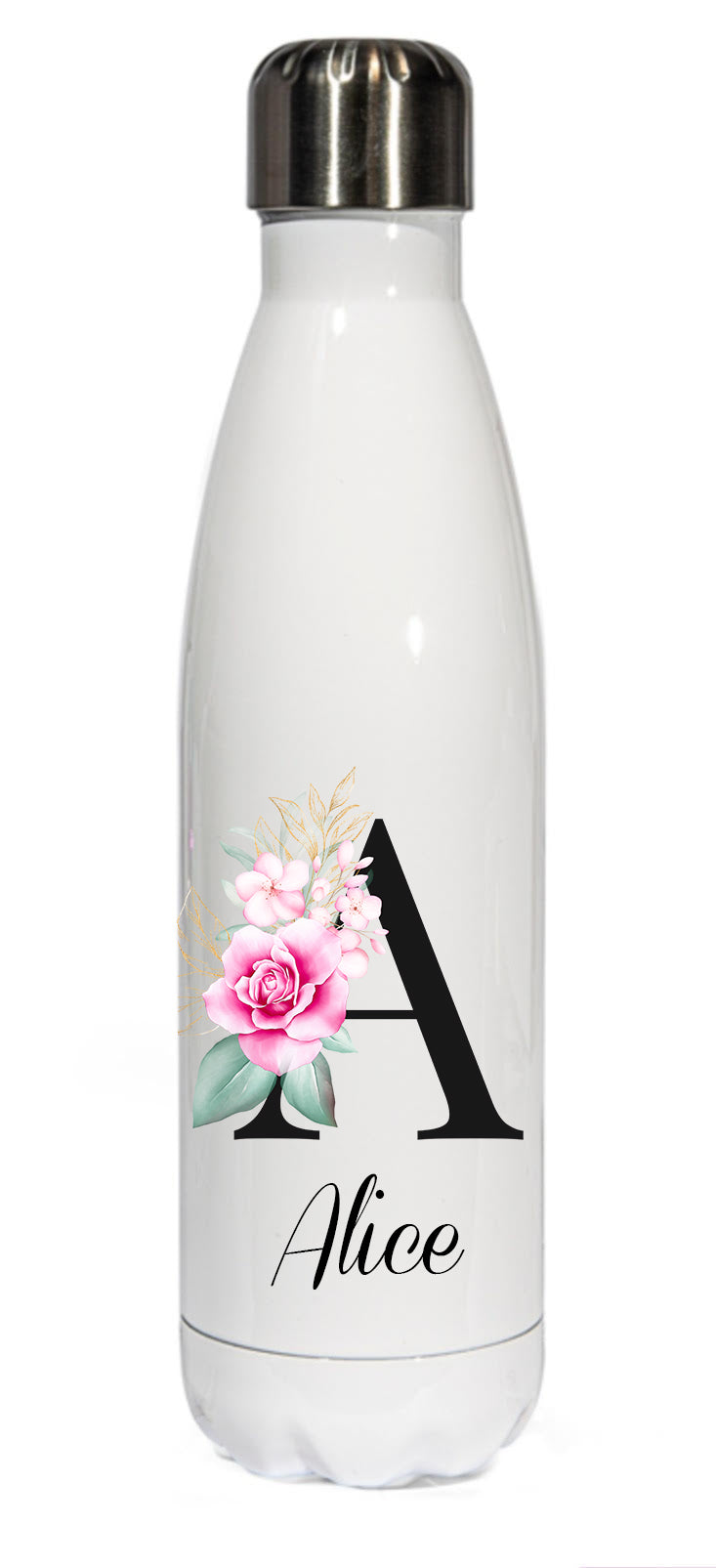 Personalised Stainless Steel 500ml || Bowling Water Bottle ||  Floral Black Initial || Chilly Design