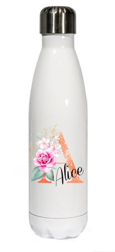Personalised Stainless Steel 500ml || Bowling Water Bottle ||  Glitter Effect Initial || Chilly Design