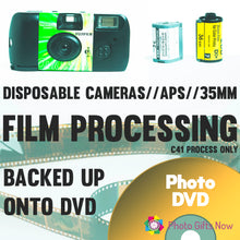 Load image into Gallery viewer, Film Processing 35mm / APS / Single Use Camera Colour Film Developing to DVD