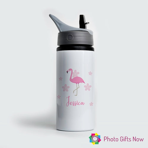 Personalised Metal 625 ml || Flip Top Water Bottle || BPA free || Flamingo