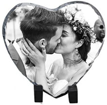 Load image into Gallery viewer, Personalised Heart Photo Printed Rock Slate || Desk Display Plaque Gift with Stand || Gift ||