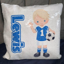 Load image into Gallery viewer, Personalised Sequin Cushion || Magic Reveal || Football Design