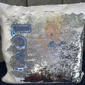 Personalised Sequin Cushion || Magic Reveal || Football Design