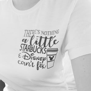 Ladies || Starbucks & Disney T-shirt || White, Grey, Pink OR Black || Size 8-16