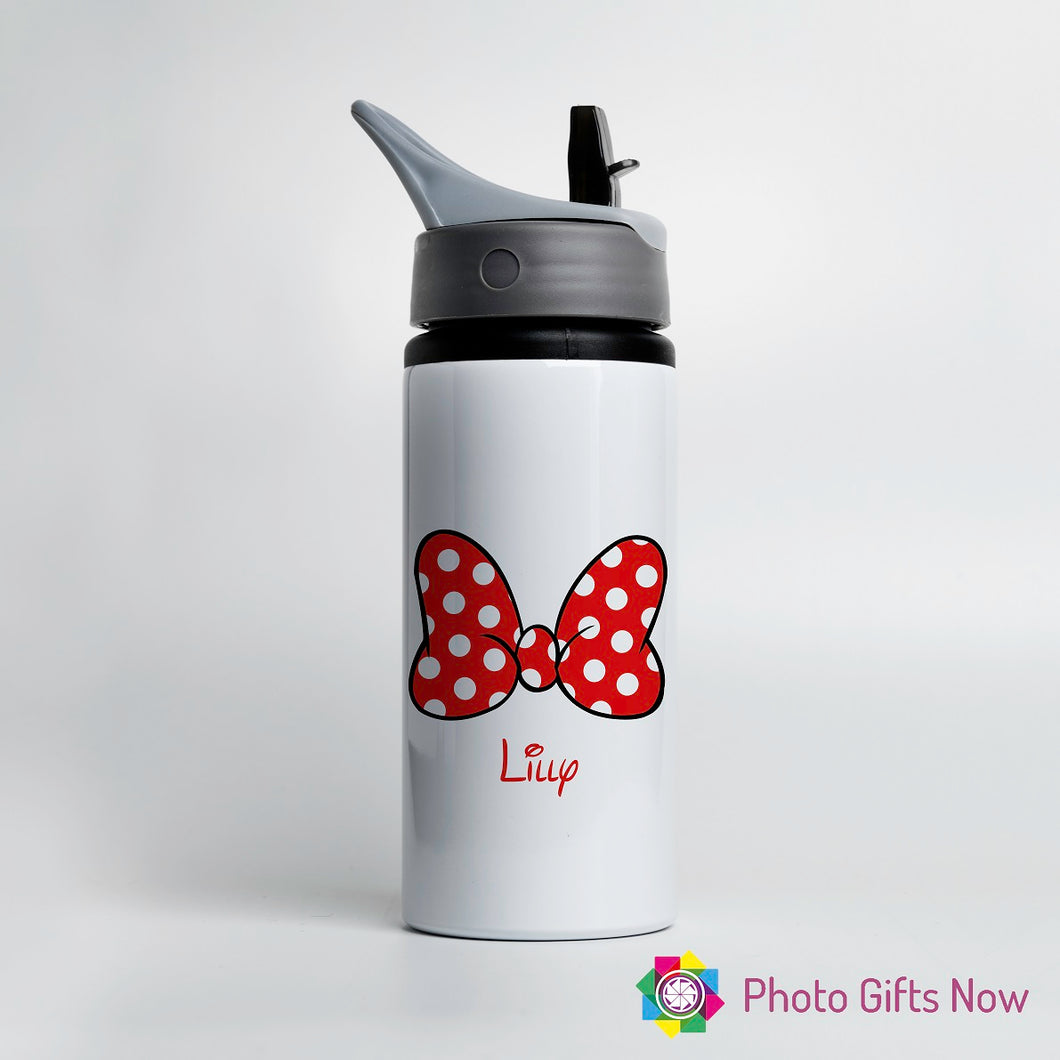 Personalised Metal 625 ml || Flip Top Water Bottle || BPA free || Minnie Bow