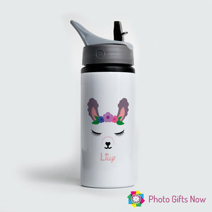 Personalised Metal 625 ml || Flip Top Water Bottle || BPA free || Llama