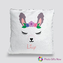 Load image into Gallery viewer, Personalised Sequin Cushion || Magic Reveal || Llama Design
