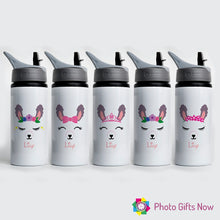 Load image into Gallery viewer, Personalised Metal 625 ml || Flip Top Water Bottle || BPA free || Llama