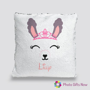 Personalised Sequin Cushion || Magic Reveal || Llama Design