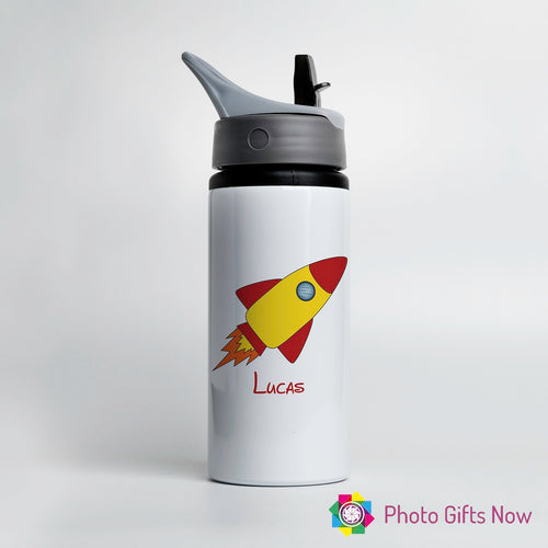 Personalised Metal 625 ml || Flip Top Water Bottle || BPA free || Rocket