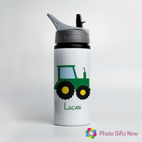 Personalised Metal 625 ml || Flip Top Water Bottle || BPA free || Tractor