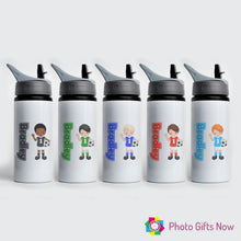 Load image into Gallery viewer, Personalised Metal 625 ml || Flip Top Water Bottle || BPA free || Footballer